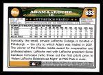 2008 Topps #633  Adam LaRoche  Back Thumbnail