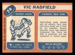 1968 Topps #74  Vic Hadfield  Back Thumbnail
