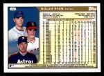 1999 Topps #34  Nolan Ryan  Back Thumbnail