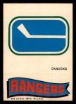 1973 Topps Team Emblem Sticker   Canucks / Rangers Front Thumbnail