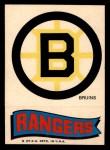 1973 Topps Team Emblem Sticker   Bruins / Rangers Front Thumbnail