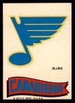 1973 Topps Team Emblem Sticker   Blues / Canadiens Front Thumbnail