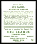 1933 Goudey Reprint #108  Joe Kuhel  Back Thumbnail