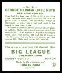1933 Goudey Reprint #144  Babe Ruth  Back Thumbnail