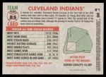 2005 Topps Heritage #85   Cleveland Indians Team Back Thumbnail