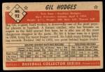 1953 Bowman #92  Gil Hodges  Back Thumbnail