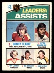 1976 O-Pee-Chee NHL #2   -  Bobby Clarke / Peter Mahovlich / Guy LaFleur / Gil Perreault / Jean Ratelle Assists Leaders Front Thumbnail
