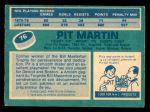1976 O-Pee-Chee NHL #76  Pit Martin  Back Thumbnail