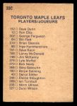 1974 O-Pee-Chee NHL #390   Maple Leafs Team Back Thumbnail