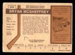 1973 O-Pee-Chee #219  Bryan McSheffrey  Back Thumbnail