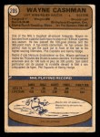 1974 O-Pee-Chee NHL #206  Wayne Cashman  Back Thumbnail