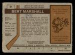 1973 O-Pee-Chee #51  Bert Marshall  Back Thumbnail