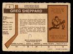 1973 O-Pee-Chee #8  Gregg Sheppard  Back Thumbnail