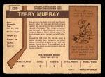 1973 O-Pee-Chee #259  Terry Murray  Back Thumbnail