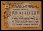 1981 Topps #80 W Jeff Cook  Back Thumbnail