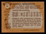 1981 Topps #74 E Gerald Henderson  Back Thumbnail