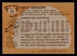 1981 Topps #80 MW Kent Benson  Back Thumbnail