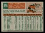 1959 Topps #355  Jimmy Piersall  Back Thumbnail