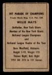 1952 Berk Ross  Willie Mays  Back Thumbnail
