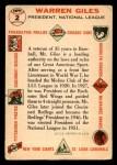 1956 Topps #2  Warren Giles  Back Thumbnail