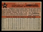 1958 Topps #478   -  Johnny Temple All-Star Back Thumbnail