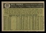 1961 Topps #205  Bill Pierce  Back Thumbnail