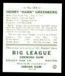 1938 Goudey Heads-Up Reprint #253  Hank Greenberg  Back Thumbnail