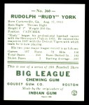1938 Goudey Heads-Up Reprint #260  Rudy York  Back Thumbnail