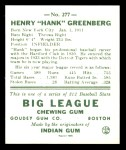 1938 Goudey Heads-Up Reprint #277  Hank Greenberg  Back Thumbnail