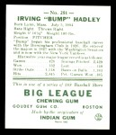 1938 Goudey Heads-Up Reprint #251  Bump Hadley  Back Thumbnail