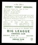 1938 Goudey Heads-Up Reprint #276  Zeke Bonura  Back Thumbnail