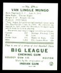 1938 Goudey Heads-Up Reprint #278  Van Mungo   Back Thumbnail