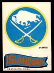 1973 Topps Team Emblem Sticker   Sabres / Islanders Front Thumbnail