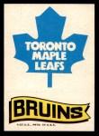 1973 Topps Team Emblem Sticker   Maple Leafs / Bruins Front Thumbnail