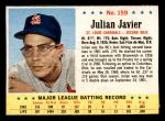 1963 Post Cereal #159  Julian Javier  Front Thumbnail