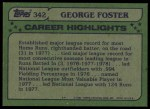 1982 Topps #342 xSig  -  George Foster All-Star Back Thumbnail