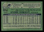 1982 Topps #540  Andre Dawson  Back Thumbnail