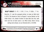 2016 Topps Update #134  Luis Severino  Back Thumbnail