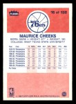 1986 Fleer #16  Maurice Cheeks  Back Thumbnail