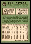1967 Topps #493  Phil Ortega  Back Thumbnail
