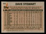 1983 Topps #532  Dave Stewart  Back Thumbnail