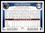 2011 Topps Update #79  Chris Dickerson  Back Thumbnail