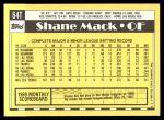 1990 Topps Traded #64 T Shane Mack  Back Thumbnail