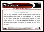 2012 Topps Update #7  Joe Mauer  Back Thumbnail