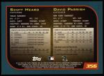 2001 Topps #356   -  David Parrish / Scott Heard Draft Picks Back Thumbnail