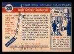 1954 Topps #28  Lou Jankowski  Back Thumbnail
