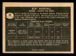 1967 Topps #45  Bert Marshall  Back Thumbnail