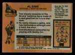 1975 Topps #136  Al Sims   Back Thumbnail