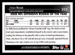 2009 Topps #323   -  Matt Ryan Offensive Rookie of the Year Back Thumbnail