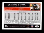2005 Topps #175  Donovan McNabb  Back Thumbnail
